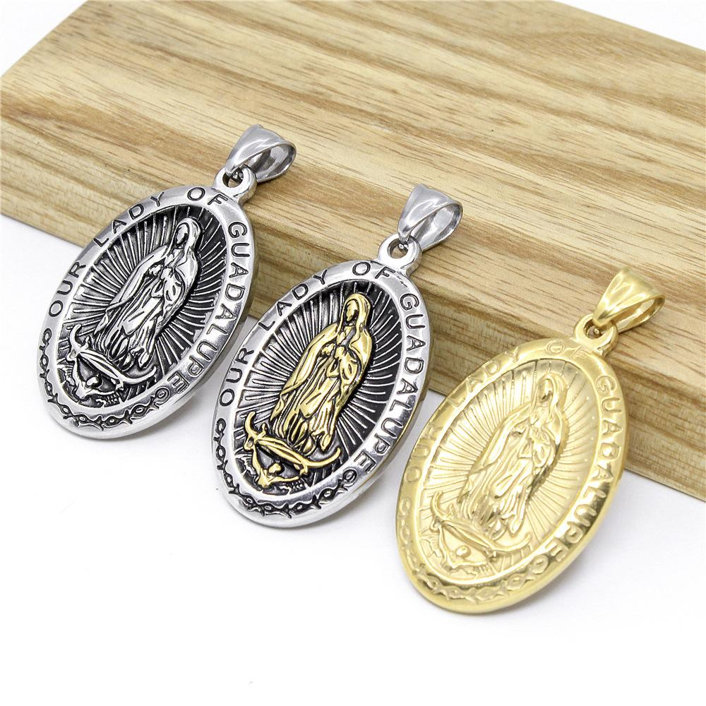 Iced Out Oval Virgin Mary Pendant necklace for Mens Women Christian Jewelry Hip hop Jewelry 316L Titanium stainless steel 60 cm Chain