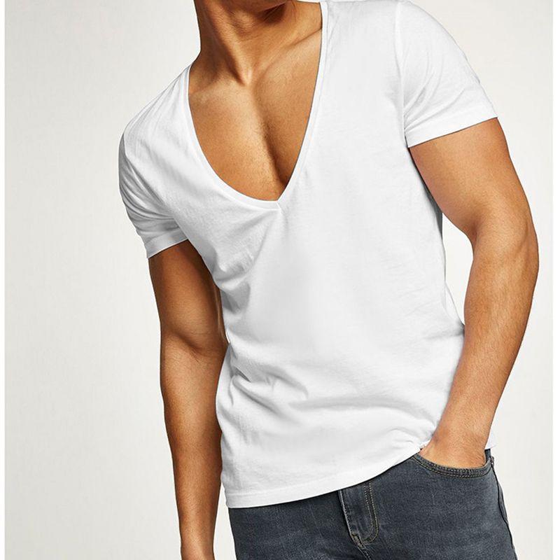 Camiseta de hombre Summer 2019 Sexy Zipper Tee Casual Short Plain T Shirts Profundo escote en V Deporte Camisetas de algodón Blanco Hombre Tops S One Piece