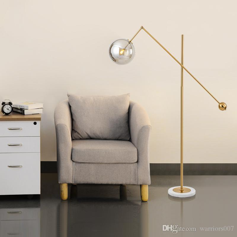 Post Modern Floor Lamp Nordic Designer Glass Ball Lampshade Marble Base LED Floor Lamps for Living Room Bedside Bedroom Lighting