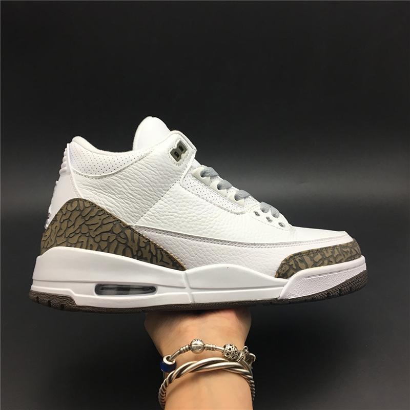 Воздух 3 мокко 136064-122 3s III White Kicks Мужчины Баскетбол Спортивная обувь Кроссовки Кроссовки Хорошие качества