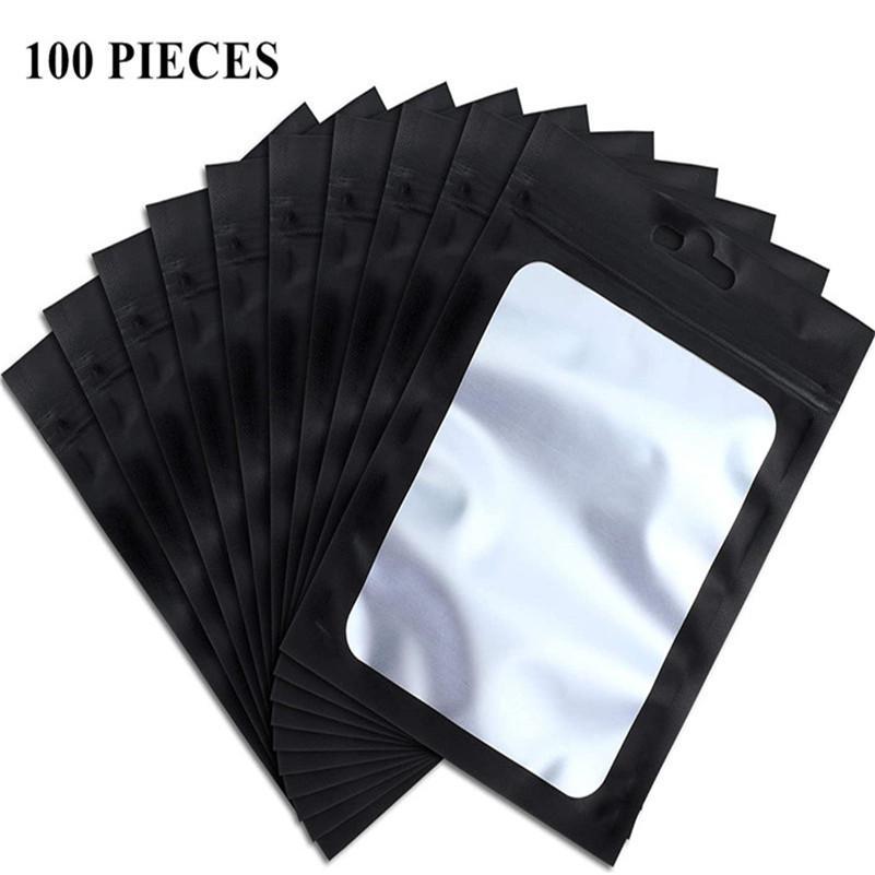 100 peças Sacos reaisable com janela de amostra de amostra cheiro à prova de alimentos sacos de armazenamento de alumínio sacos de armazenamento de selagem