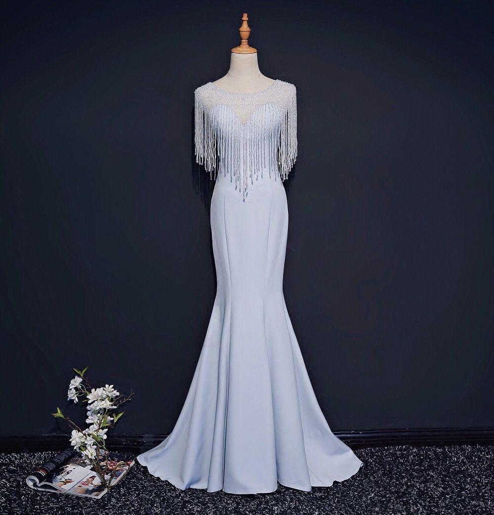 hellblaue Quasten Perlen Umhang Meerjungfrau langes Kleid Rokoko mittelalterliches Kleid Renaissance Gown Queen Victorian / Marie / Belle Ball / Bühne / Kleid