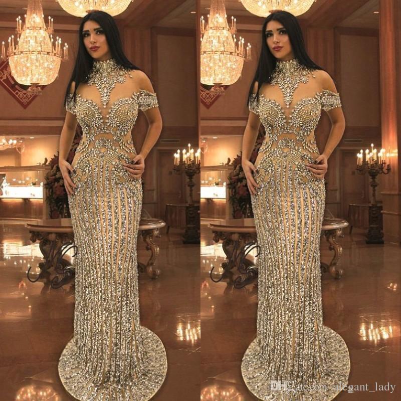 Luxurious Rhinestone Crystals Prom Dresses High Neck Beads Short Sleeve Sparkly Mermaid Prom Dress Stunning Dubai Celebrity Evening Dresses