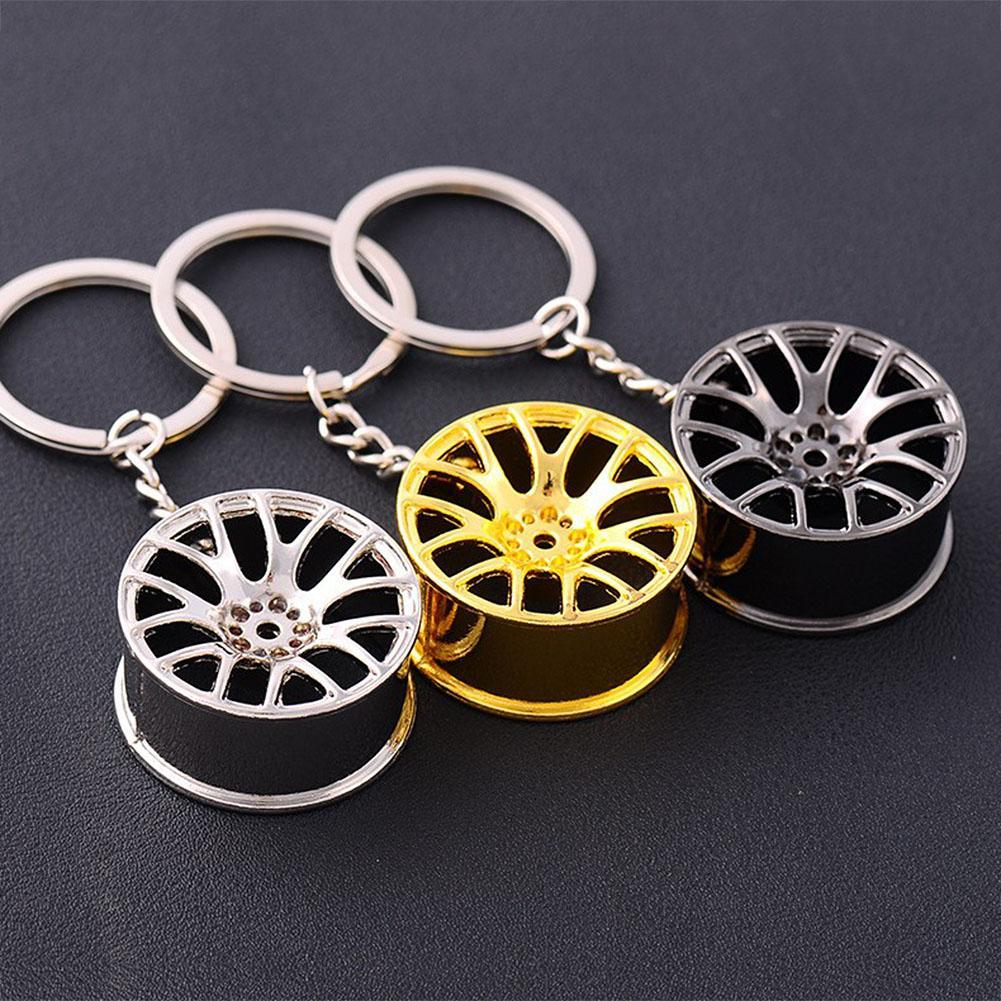 Metal Keychain Car Wheel Hub Auto Logos Key Chain Auto Repair Parts Car Mini Tire Wheel Key Chain 3 Color mini cooper keychain