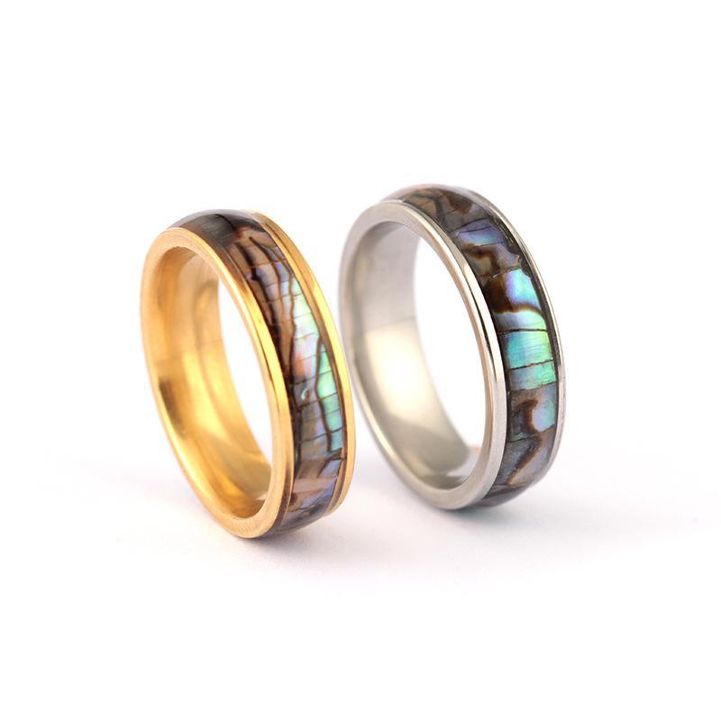 쉘 연인 커플의 반지 스테인레스 스틸 손가락 반지 남자를위한 웨딩 밴드 여성 편안한 크기 6-12 보석 선물