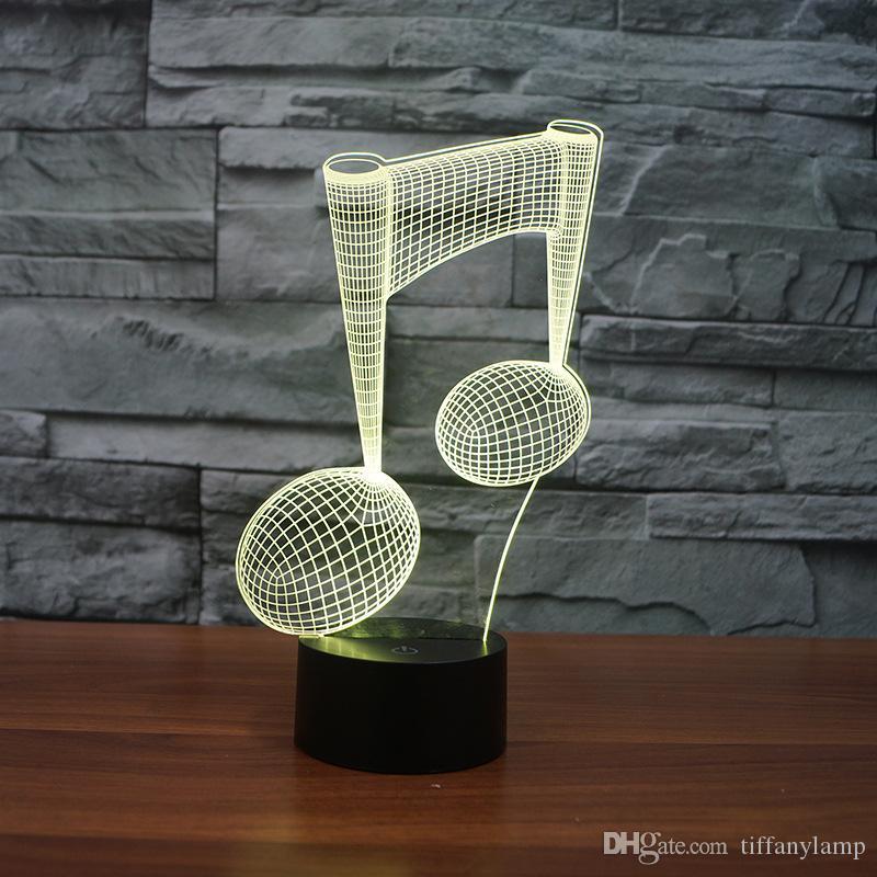 Music Note 3D Night Light Toque no botão USB presentes Carga LED Lighting novidade Atmosfera Visual cabeceira Abajur