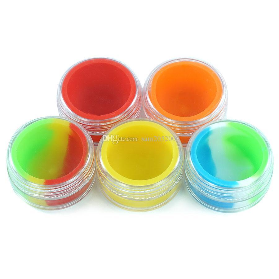 7ml trasparente contenitore di plastica non bastone in silicone trasparente plastica barattolo di vetro bottiglia di vetro tavolino olio di cera plastica contenitore portatile
