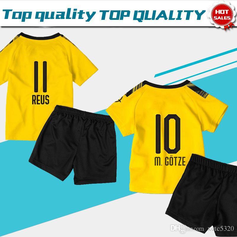 2020 Kids Kit yellow soccer Jersey #17 HAALAND home 19/20 #7 SANCHO #11 REUS Child Dortmund football shirt Customized with shorts