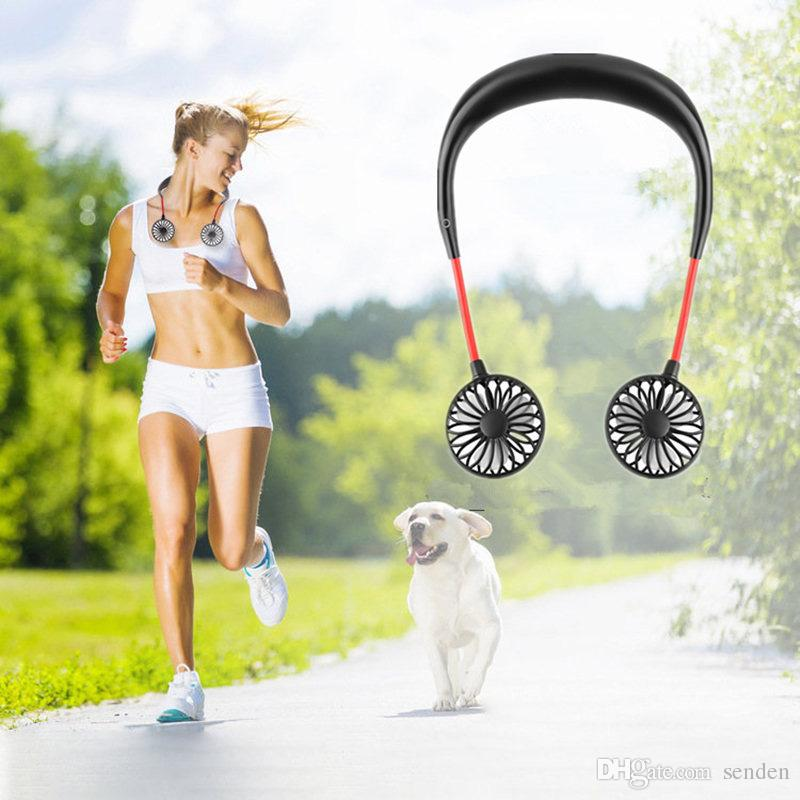 USB Portable Rechargeable Neck Handing Dual Cooling Mini Fan for Outdoor Sports