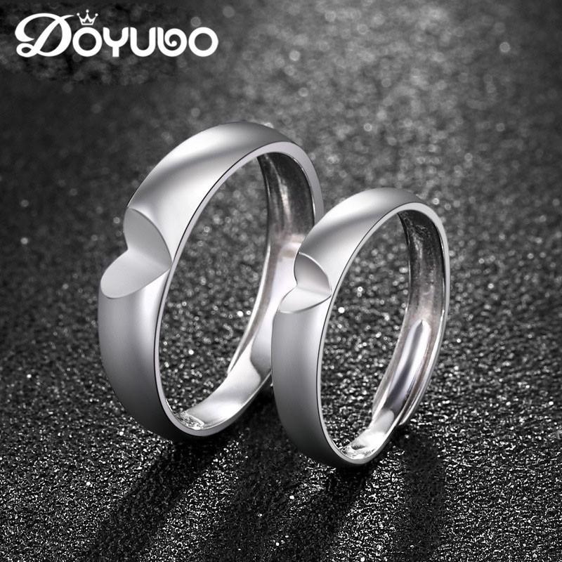 도매 간단한 스타일 925 스털링 실버 커플 하트 반지 조정 가능한 크기 클래식 솔리드 실버 연인 약혼 반지 VB257