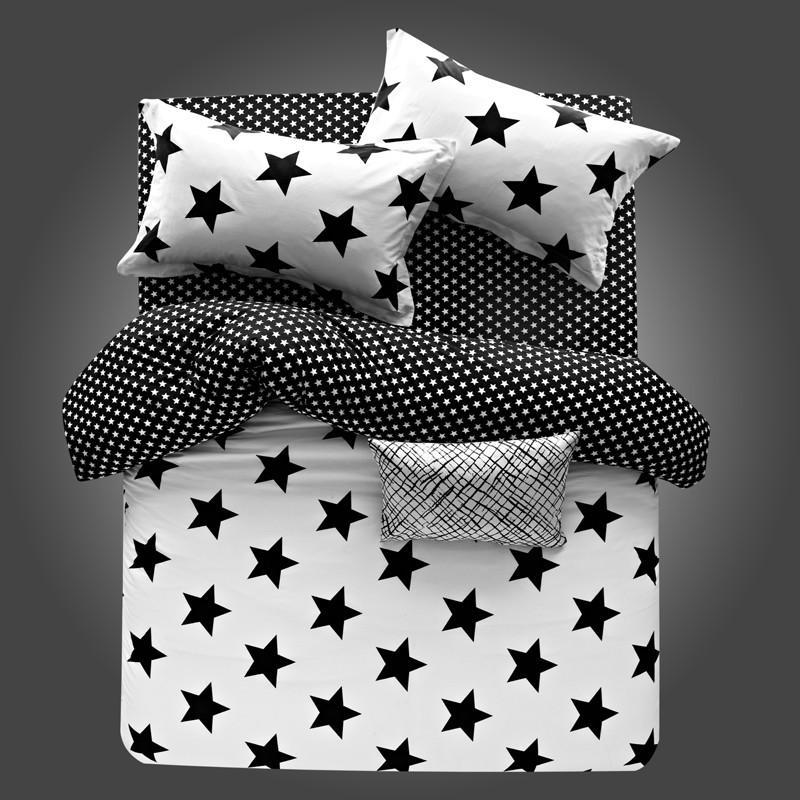 Negro blanco de las estrellas Sistemas del lecho 100% de algodón de lujo funda nórdica establecer la hoja de cama tamaño Twin Queen almohada del Rey 3 / 4pcs ropa de cama