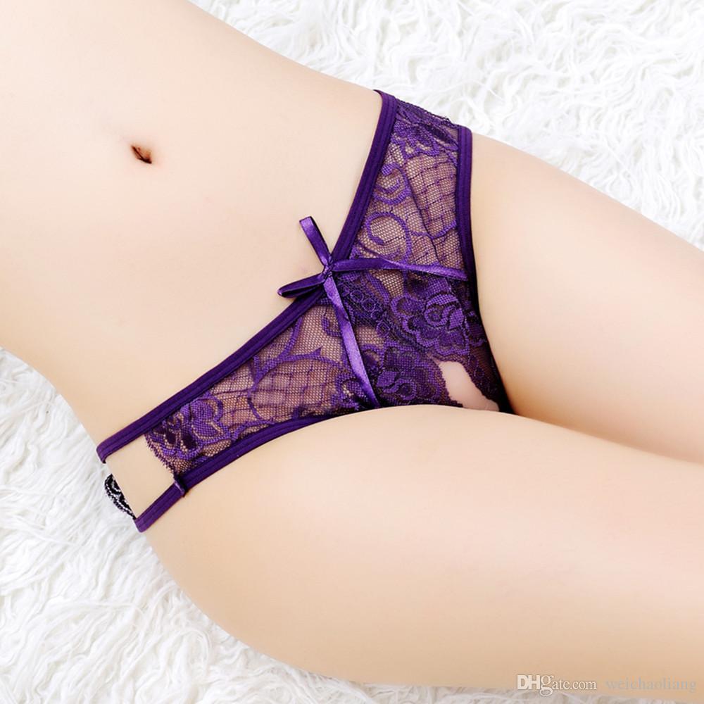 Lcw Fashion Women's free Sexy lingerie ladies transparent Exotic style underwear fun Lace open crotch Briefs temptation thong wholesale