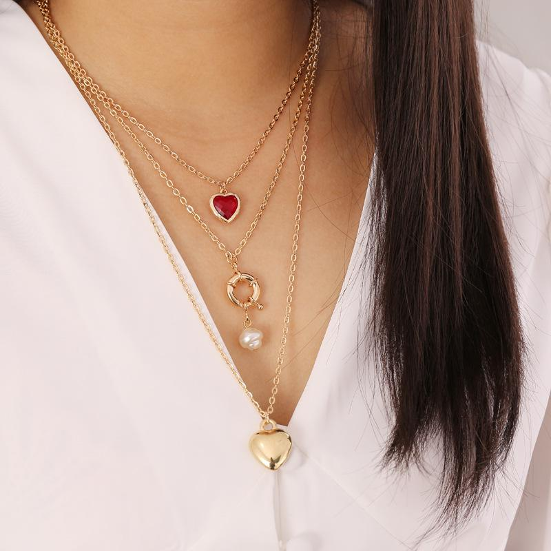 Gothic Red Heart Pendant Necklace Pearl Gold Chain Chocker Women Girl Bridesmaid Gift Love Necklace Goth Jewelry