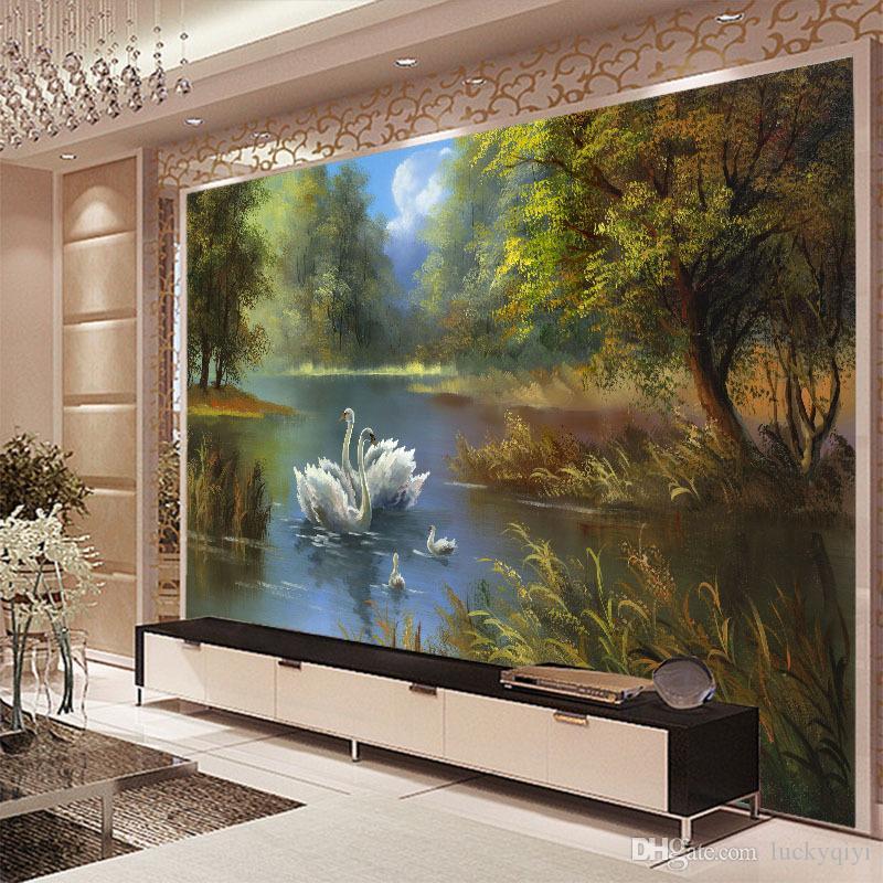 paisaje del lago de los cisnes pintura al óleo gran mural papel pintado no tejido sala de estar TV fondo pared 3d video papel de pared