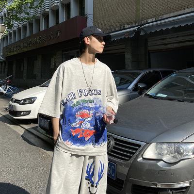 Мужская летний костюм моды круглым вырезом с коротким рукавом футболки костюм мужчин и женщин Спорт Сыпучие Двухсекционный Trend Новый стильный Printed Tracksuit