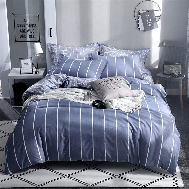 북유럽 식물 꽃 별 기하학 4pcs 침대 커버 세트 만화 Duvet 커버 침대 시트 및 Pillowcases 이불 침구 세트 61001