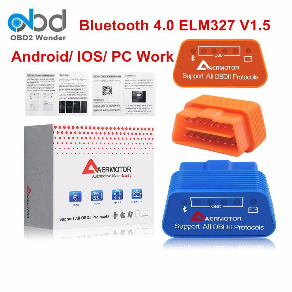 Aermotor ELM327 블루투스 4 0.0 OBD2 V1 0.5 자동 진단 스캐너 느릅 나무 327 블루투스 4 OBDII (Fw)를 1 .5 안드로이드 윈도우 Availiable