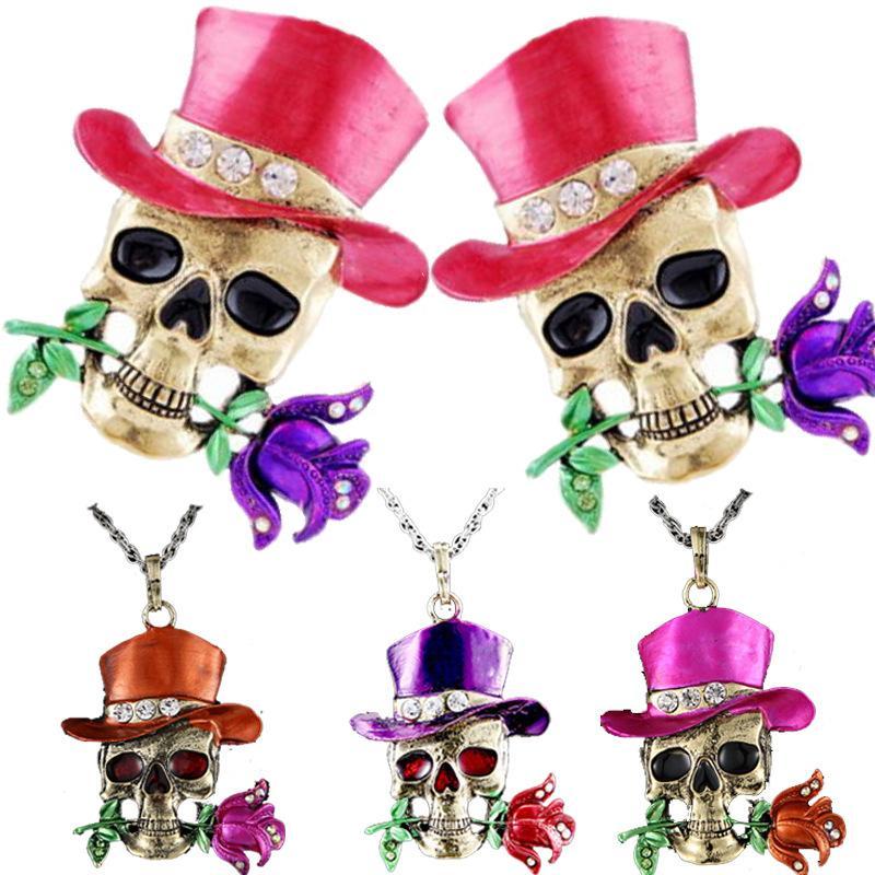 여성 남성 할로윈 파티 선물에 대 한 빈티지 해골 목걸이 합금 장미 꽃 모자 펜던트 목걸이 크리스탈 보석