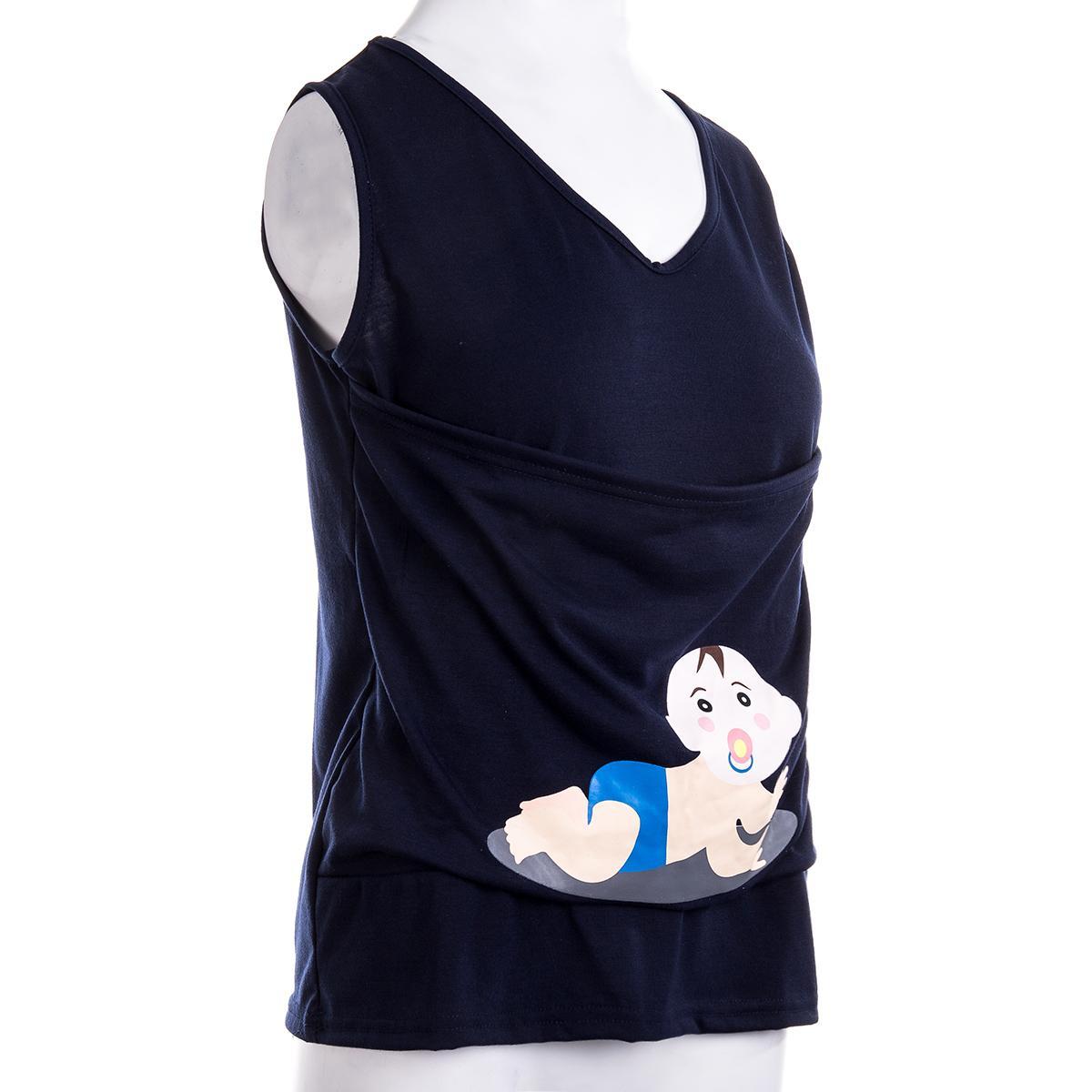Fashion Women Maternity Solid Kangaroo Pocket Sleeveless Top Vest T Shirt Blouse