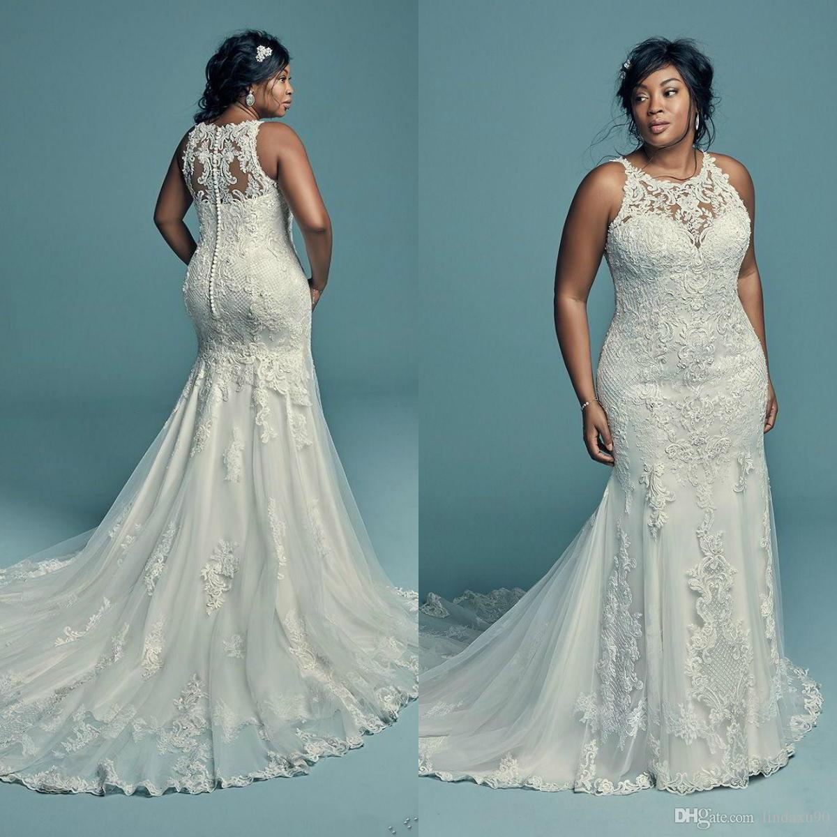 Elegant Lace Applique Plus Size Wedding Dresses Mermaid Sleeveless Sweep  Train Bridal Gowns Summer African Button Back Bride Dress Cheap Casual ...