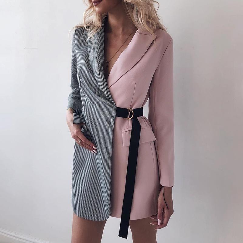 2019 primavera donna moda elegante patchwork patchage giacca femminile ufficio nodo lato pied de poule stampa cappotto bicolore Y190830