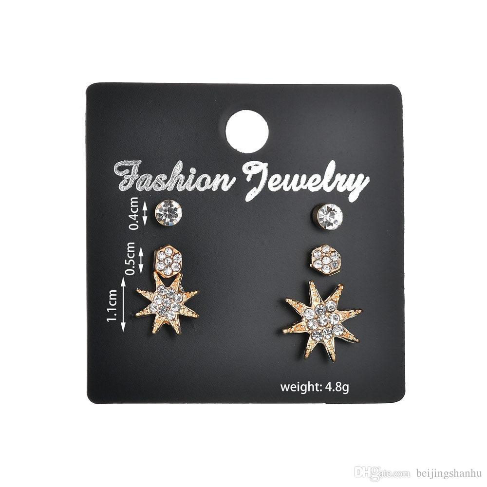 Cute New Romantic Small Gold Rhinestone Star Moon Lovely Heart Shape Stud Earrings Women Party Girlfriend Gift E2495