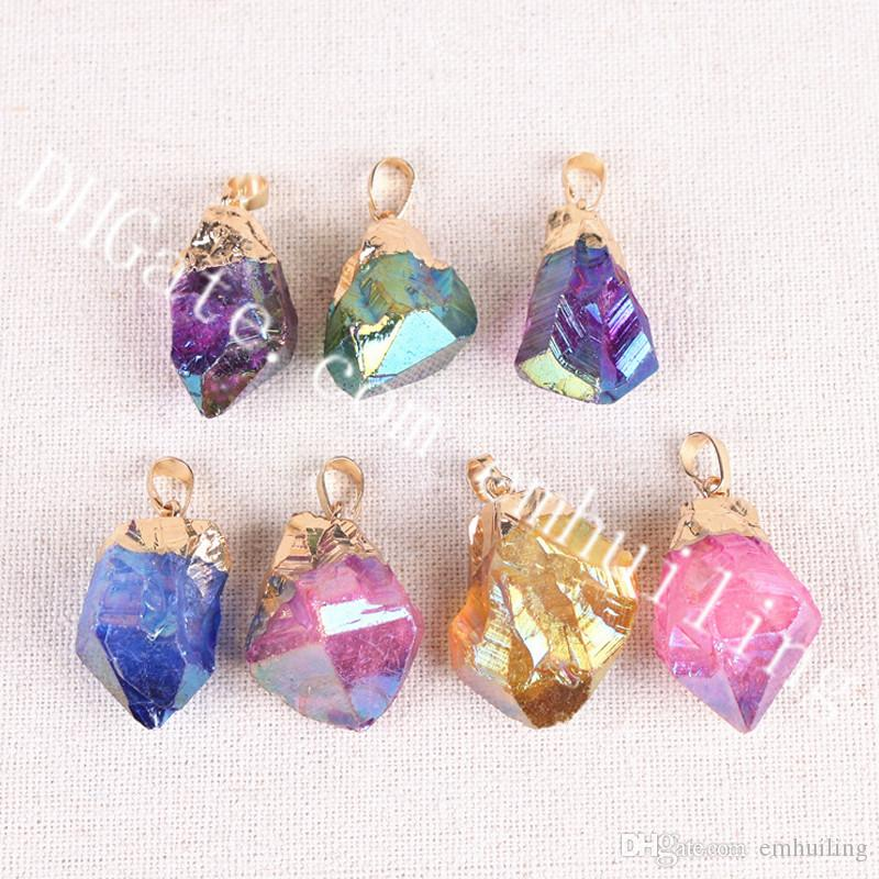 10Pcs Rough Crystal Angel Aura Titanium Coated Quartz Point Pendant Irregular Mixed Random Color Raw Stone Charm with Gold/Silver Plated Cap