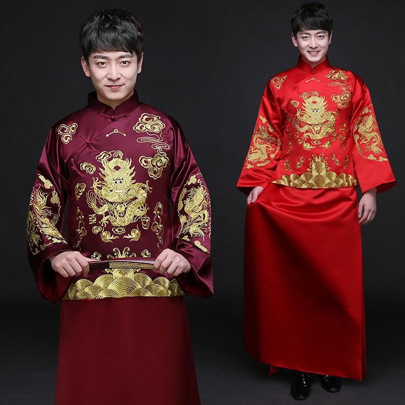Cheongsam masculin vêtements ethniques costume traditionnel chinois robe de mariée traditionnelle des hommes costume rouge robe Vintage robe de marié