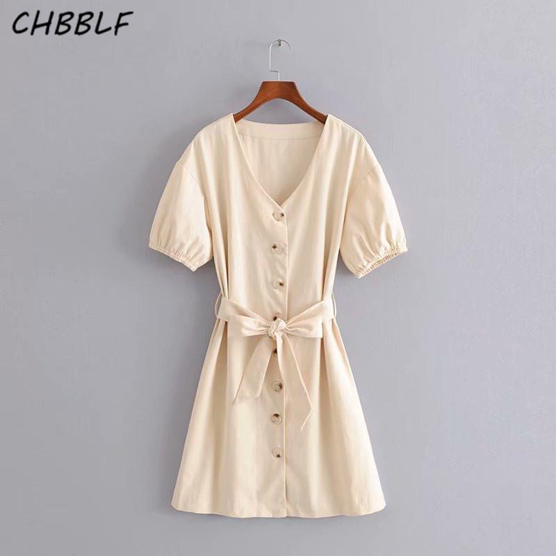 도매 여성 우아한 베이지 V 넥 드레스 나비 넥타이 띠 짧은 소매 버튼 여성 사무실 드레스 vestido HJH2097