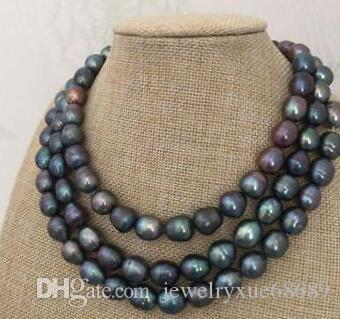 impresionante collar de perlas verde tahiti de 9-10 mm negro 48 pulgadas 14 k
