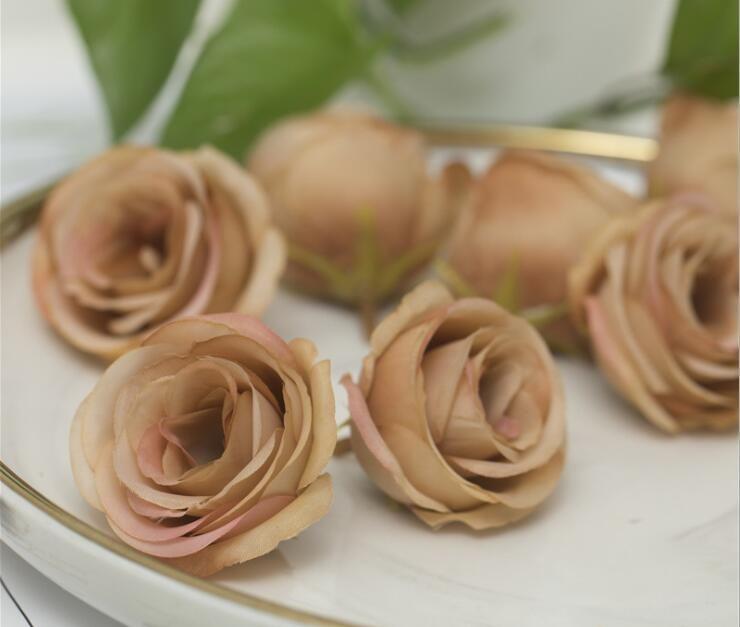 Simulato Camellia Wedding Arrangement Rose Sposa Mano Fiore Reggiseno Fare fiore Rose Ring con testa di fiore Y012