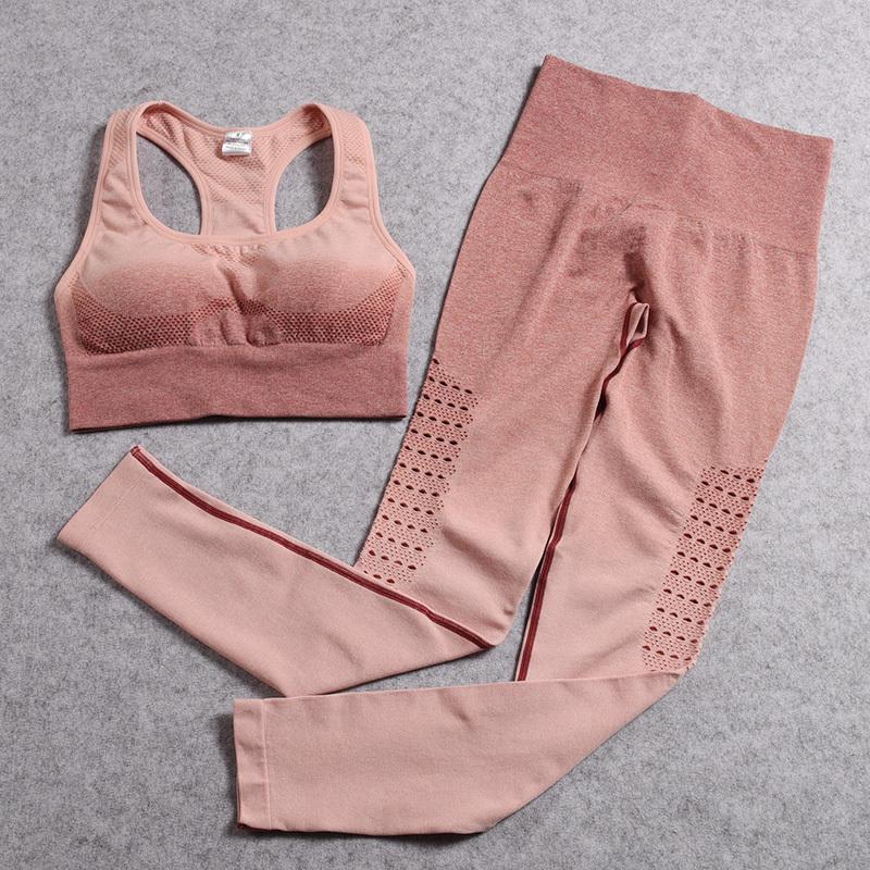 Ombre Sorunsuz Yoga Seti Spor Kıyafet İçin Kadın 2 Adet Gym Giyim Egzersiz Seti Kadın Spor Seti Spor Suit Aktif Giyim T200605