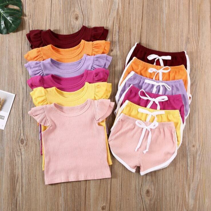 Crianças roupas de bebê Fly luva Roupa Define Summer manga curta Top Shorts Ternos Crianças Casual Sólidos Cotton Vestuário Set Homewear BYP816