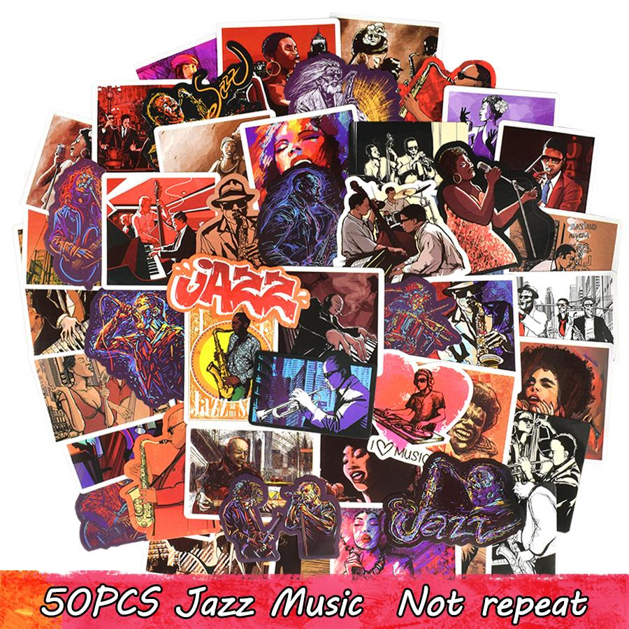 50PCS Waterproof Classical Jazz Music Style Stickers Wall Decals for DIY Laptop Luggage Guitar Headset Scrapbook Water Bottle Car Home Decor