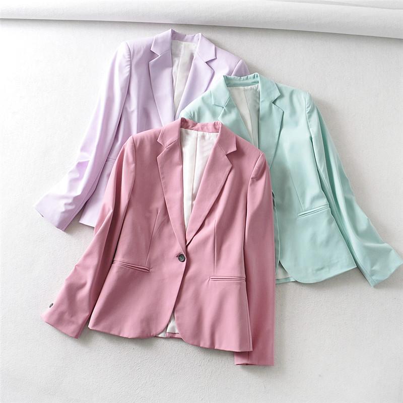 Blazer 2020 formal Blazers Señora trabajo de oficina bolsillos traje chaquetas de la capa delgada solo botón violeta Mujer Chaquetas Hembra