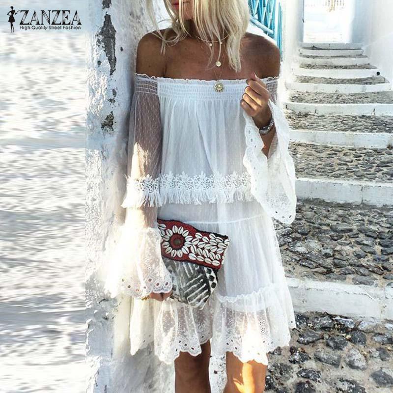 Seksi Kapalı Omuz Dantel Elbise ZANZEA 2020 Şık Kadın Sundress Casual fırfır vestidos Kadın Beyaz Robe Yaz Elbise Oversize T200415
