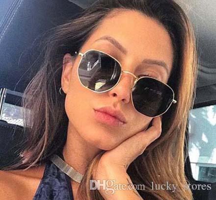 Moda Óculos de Sol Hexagonal Mulheres Homens Designer Sun Óculos Clássicos para Senhoras Retro Retro Marca UV400 3548 com casos
