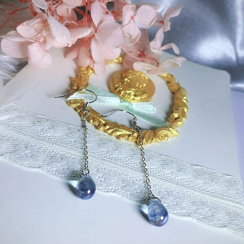 S925 sterling silver drop earrings female Japanese style simple blue glass sweet long section