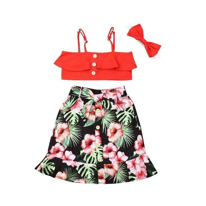 Kleinkind-Kind-Baby-Mädchen-Kleidung Crop-Weste-Spitze Blumen-Kleid 3Pcs Outfit mit Schleife