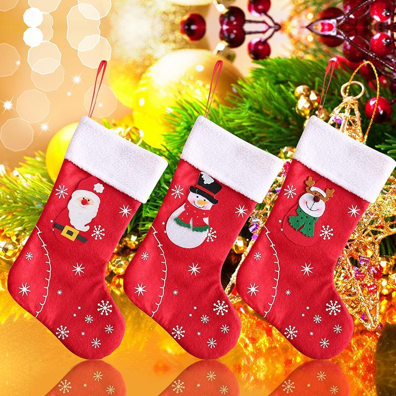 Рождественские чулки Ткань Санта-Клауса Носок подарка Дети конфеты мешок снеговика Deer Карманный Xmas украшения для рождественской елки украшения