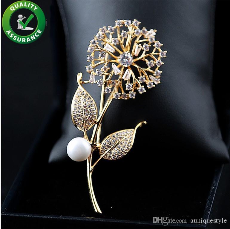 Designer di gioielli spille di cristallo di lusso spille uomo donna moda accessori da sposa bead dente di leone spilla pins elegante da sposa regalo di natale