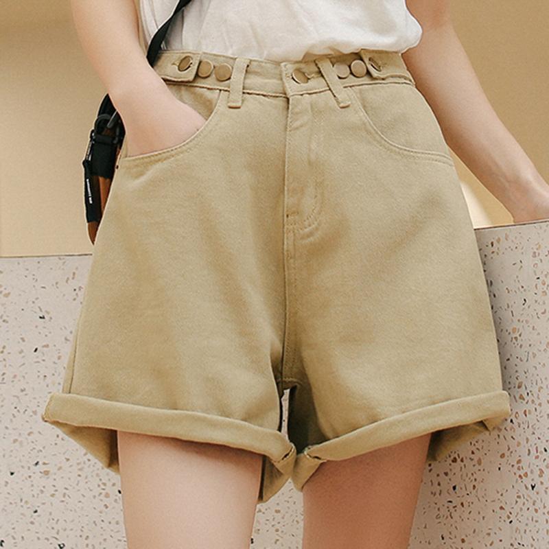 OL High Waist Pantalones Mujer Fashion Wide Leg Short Pants All-Match 5 Colors Cortos