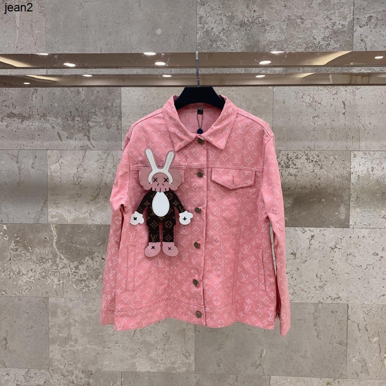 Le meilleur choix de mode Manteau Femmes Lettre Imprimé Denim tissu rose manteau 040504