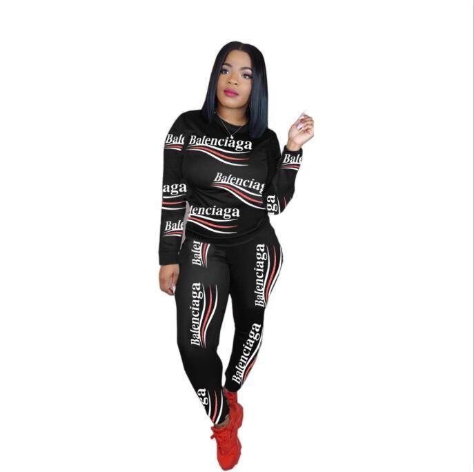 Diseñador de ropa de las mujeres Dos conjuntos de piezas de 2 pedazos de las mujeres sudan trajes más del tamaño juego que activa Deporte suave largo de la manga del chándal de deporte