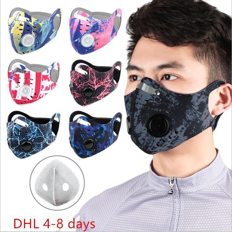 Cartoon camo Sport Maske Außen Fahrrad Halbgesichtsmaske Aktivkohle Anti-Smog Neopren Ohrbügel Luftfilter befreien Maske Radfahren