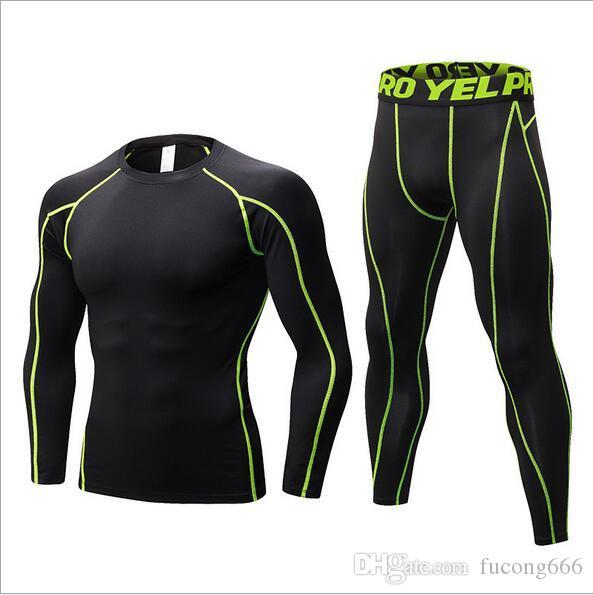 Der neue PRO Pro Body-Fitnesstrainingsanzug 01 für Männer ist schnell trocknende Kleidung für lange Ärmel + Hosen