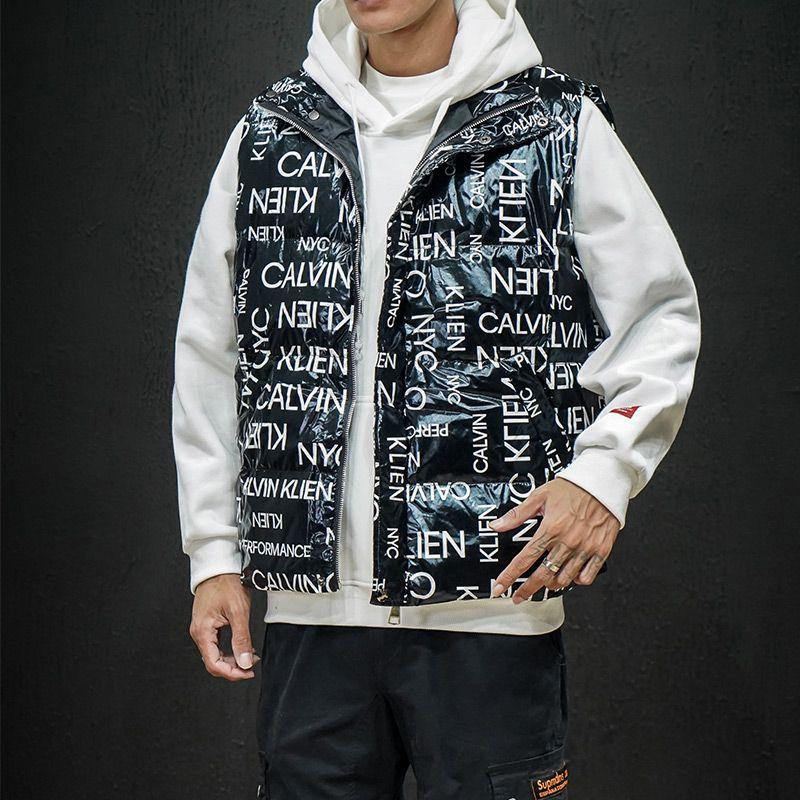 M-5XL Winter Bodywarmer Chaqueta sin mangas Hombres Chaleco Casual Chaleco Menuzón Chaleco de moda Impresión de moda Velvete sobre abrigo