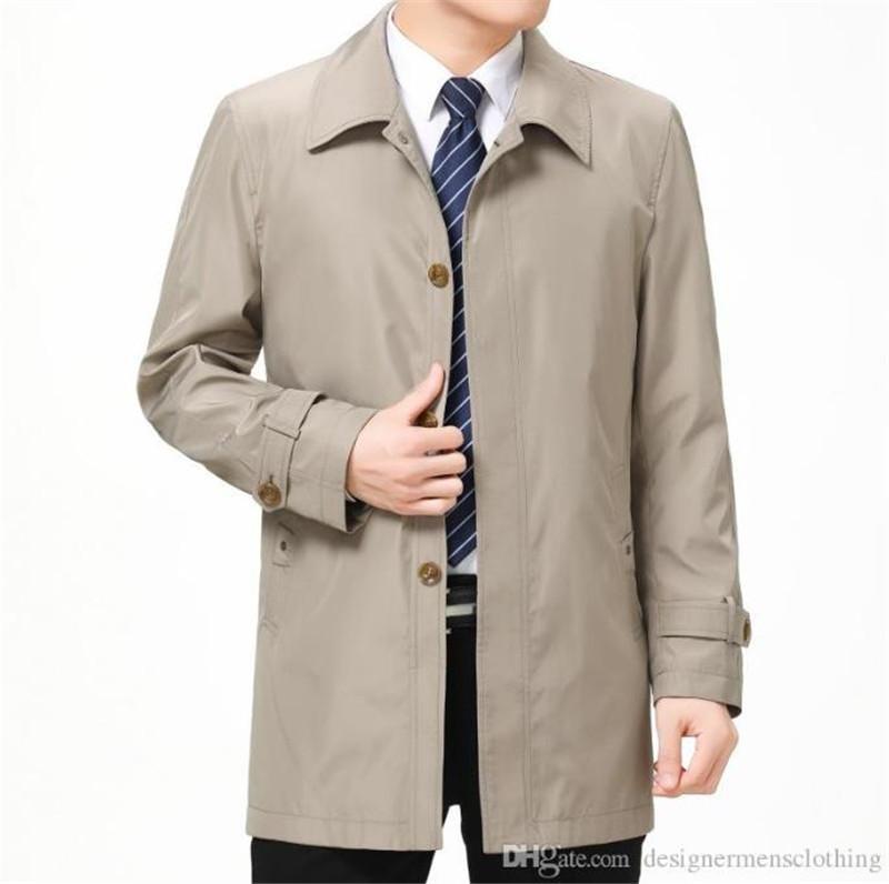 Autumn Mens Negócios Designer Trench Coats lapela Neck Long Sleeve Casacos Casual meia idade e casacos Elder