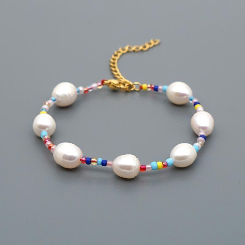 GO2BOHO Natürliche Perlen-Armbänder Frauen VSCO Mädchen Acessorios Armband Femme modische Schmucksachen Handweb Kette Freundschaft Geschenk