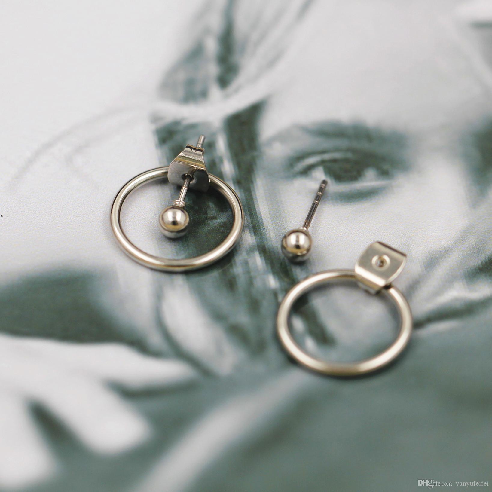 Qingdao Europe Japan Japan and South Korea jewelry minimalist style geometric round metal back hanging earrings earrings earrings men and